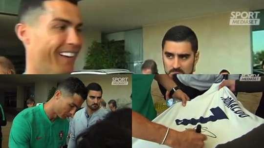 Cristiano brincou com um adepto e lembrou-o que está na Juventus. Captura/SportMediaset