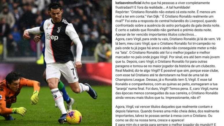 Katia Aveiro cargó contra Van Dijk. AFP/Instagram/katiavaeirooficial