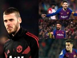 De Gea enfrentará novamente o trio ofensivo do Barcelona. Montaje/EFE/AFP