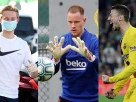 Saiba a posição desses três jogadores do Barça. AFP/EFE