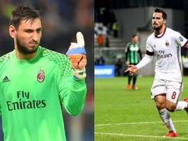 L'AC Milan cherche une sortie à Donnarumma et Suso. Montaje/EFE