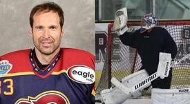 Debut soñado de Cech en hockey sobre hielo: ¡fue MVP! Montaje/GuildfordPhoenix
