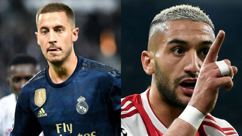 Ziyech (R) is not far behind Hazard in the Champions League stats. AFP