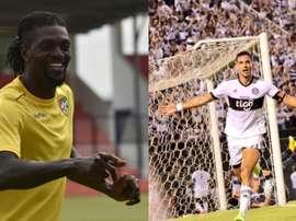 Olimpia réunirait le duo Adebayor-Santa Cruz. Montage/AFP/EFE