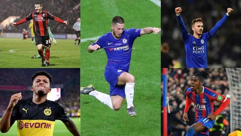 Cuatro 'cracks' del mañana para hacer olvidar a Hazard en el Chelsea. Montaje/AFP/EFE