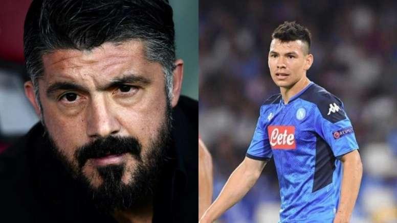 Gattuso expuso sus razones para no contar con Lozano. Montaje/AFP/SSCNapoli