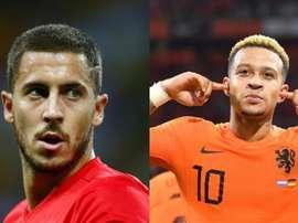 Hazard y Depay se verán las caras en Bruselas. AFP