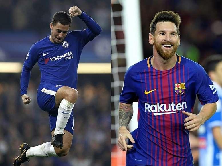 Hazard e Messi, segundo o próprio belga, esão em níveis muito diferentes. BeSoccer