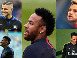 Montagem Icardi, Falcao, Neymar, Rakitic y Keylor Navas. Montagem/AFP/EFE
