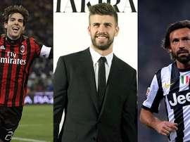 Montage de Kaká, Piqué et Pirlo. BeSoccer