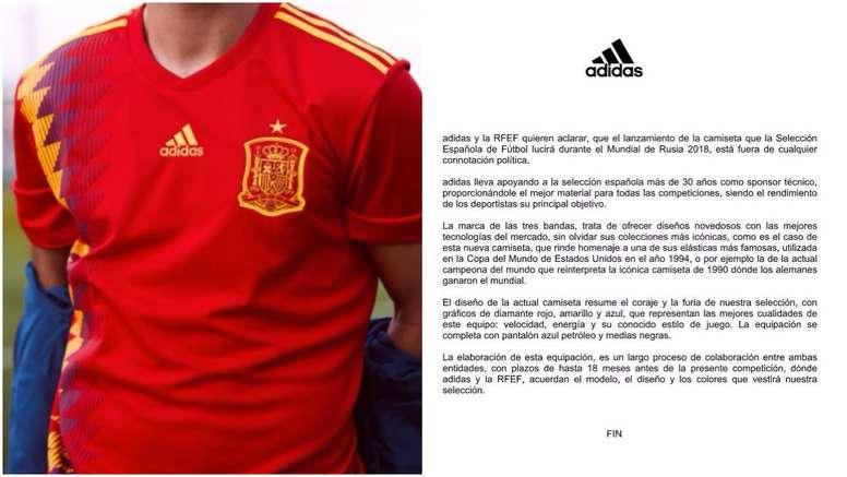 construir Frente al mar Llorar  Adidas y la RFEF rompen su silencio tras la polémica de la camiseta de  España - BeSoccer