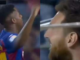 Ansu Fati a fait sourire Messi. Capture/Movistar+