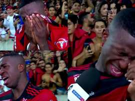 Vinicius couldn't hide his emotions. Screenshot/SportTV