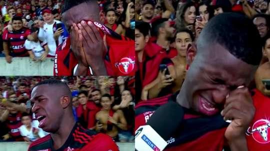 Vinicius couldn't hide his emotions. Screenshot/SportTV
