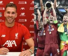 Decisivo no título, Adrián não tinha time dez dias antes. Montaje/Liverpool/EFE