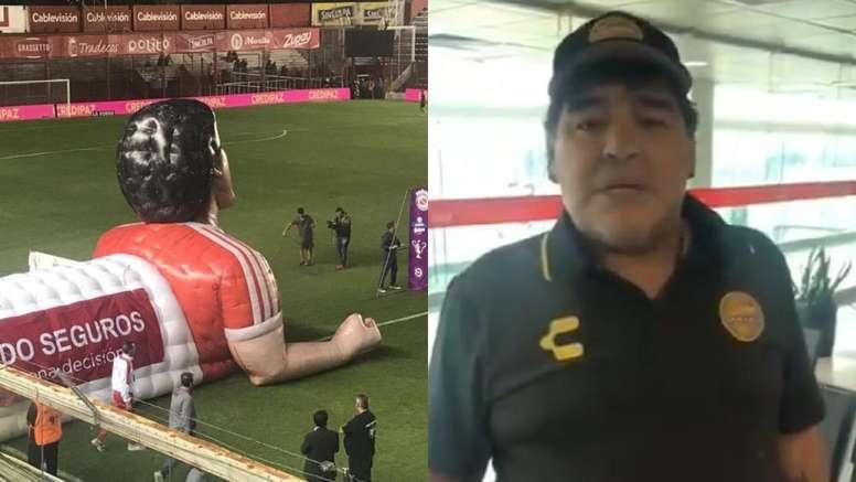Argentinos Juniors homenajeó a Maradona. Twitter/SC_ESPN