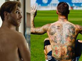 Sergio Ramos' tattoos on his back are not in the photo. Twitter/SergioRamos