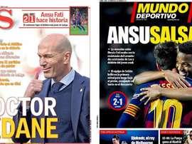 Les Unes des journaux sportifs en Espagne du 03/02/2020. Montage/AS/MD