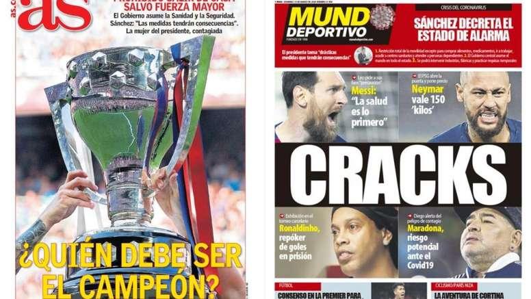 Capa das revistas AS e Mundo Deportivo 15-03-20. Montageme/AS/MundoDeportivo