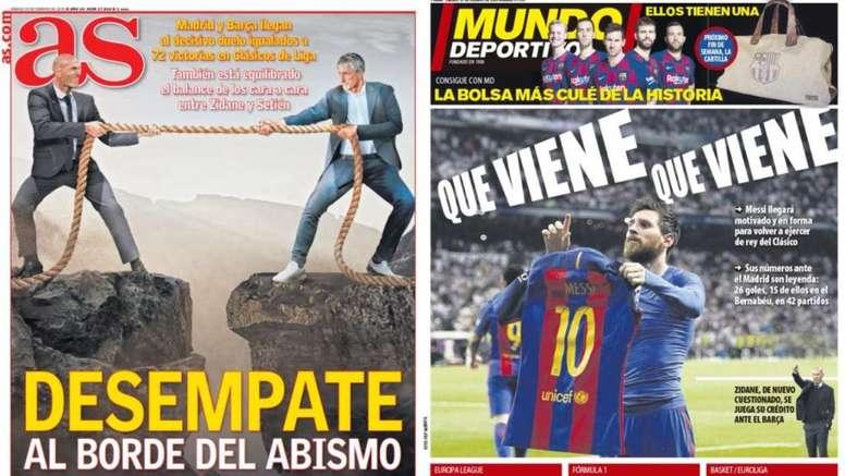 Estas son las portadas de la prensa de hoy. Montaje/AS/MD