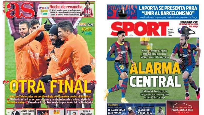 As capas da imprensa esportiva de 1 de dezembro de 2020. Montagem/AS/Sport