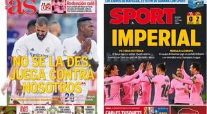 As capas da imprensa esportiva. Montaje/AS/Sport