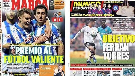 Les Unes des journaux sportifs en Espagne du 5 mars 2020. Montage/Marca/MundoDeportivo