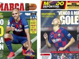 Capa das revistas Marca e Mundo Deportivo de 21-02-20. Montagem/Marca/MundoDeportivo