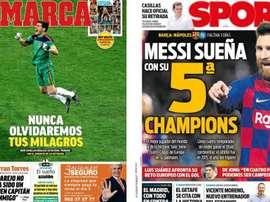 Capas dos jornais espanhóis Marca e Sport.