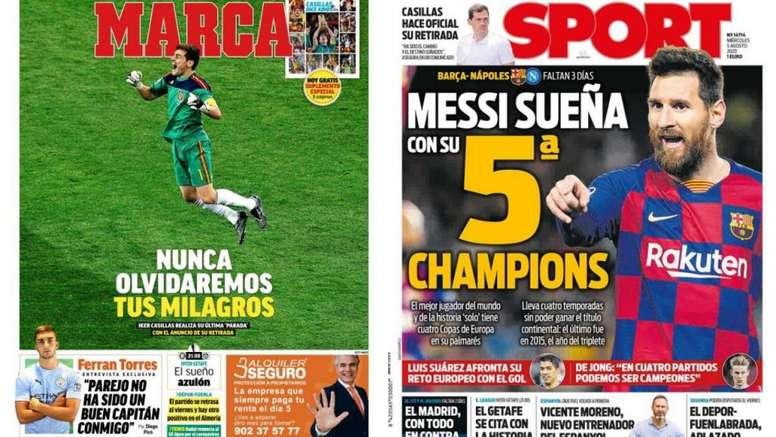 Las portadas de la prensa deportiva del día de hoy. Montaje/Marca/Sport