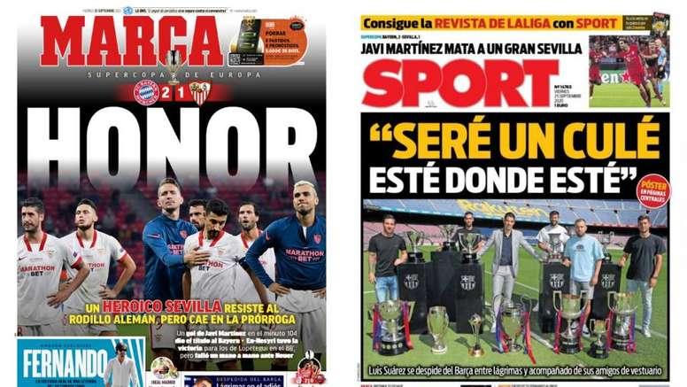 Portadas de la prensa deportiva del 25-09-20. Montaje/Marca/Sport