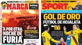 Capas dos portais esportivos Marca e Sport do dia 26-02-20. Montaje/Marca/Sport