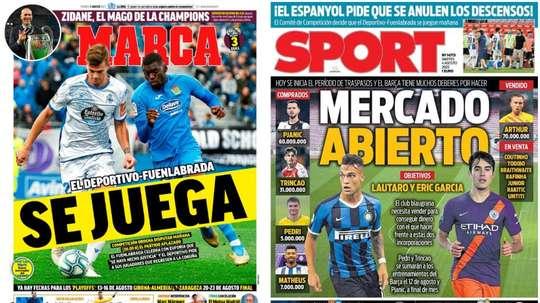 Estas son las portadas de la prensa deportiva del 04-08-20. Montaje/Marca/Sport