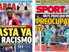 Estas son las portadas de la prensa de hoy. Montaje/Marca/Sport