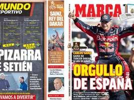 Les Unes des journaux sportifs en Espagne du 18/01/2020. MD/Marca