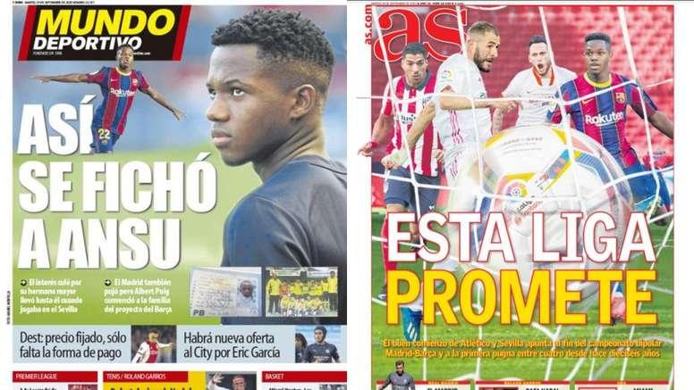 Portadas de la prensa deportiva del 29-09-20. Montaje/MundoDeportivo/AS
