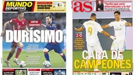 As capas da imprensa esportiva. Montagem/MD/AS