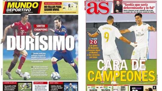 Les Unes des journaux sportifs en Espagne du 11 juillet 2020. Montage/MD/AS