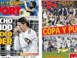 Capas dos jornais  Sport e AS do dia 17-02-20. Montaje/Sport/AS