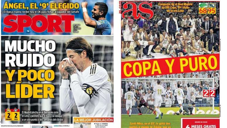 Capas dos jornais  Sport e AS do dia 17-02-20. Montaje/Sport/AS