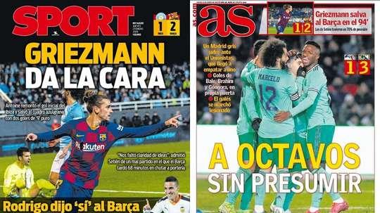 Les Unes des journaux sportifs en Espagne du 23/01/2020. Montage/Sport/AS