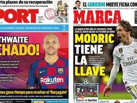 Capas dos portais esportivos Sport e Marca do dia 20-02-20. Montaje/Sport/Marca