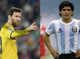 Leo Messi e Maradona foram comparados por Roberto Ayala. Montagem/EFE