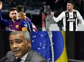 Romario préfère voir jouer Messi. Montage/AFP