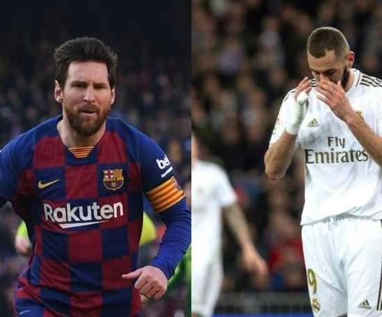 Leo Messi e Karim Benzema foram os dois maiores goleadores do Campeonato Espanhol. Montaje/AFP/EFE