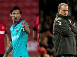 Bielsa foi indicado por Leo Messi. Montagem/EFE/AFP