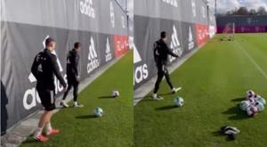 Lewandowski mostrou seu chute curvado em treino do Bayern de Munique. Captura/Bayern