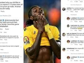 Adebayor la volvió a liar en redes 10 años después de su gol al Arsenal. Instagram/e_adebayor/AFP