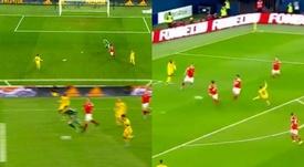 Hazard hizo doblete en seis minutos. Captura/Cuatro