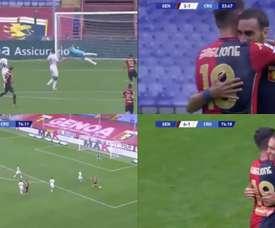 Zappacosta and Pjaca scored for Genoa. Screenshots/NovaSports